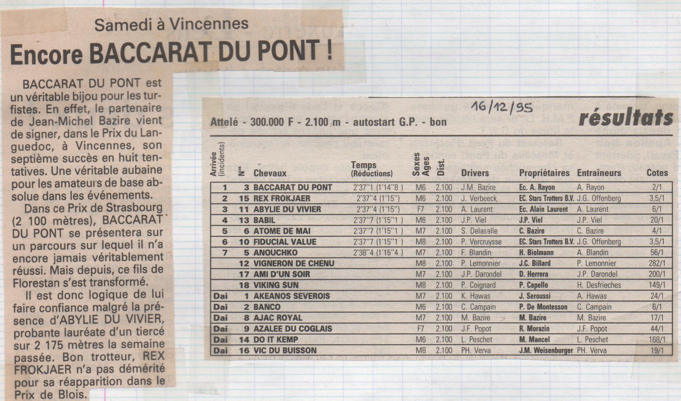 1995 12 16 Baccarat du Pont Prix de Strasbourg
